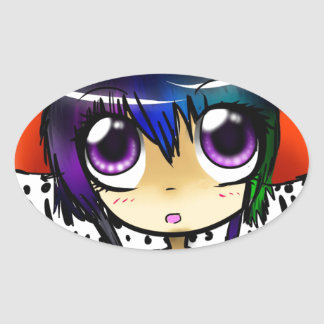 anime oval sticker