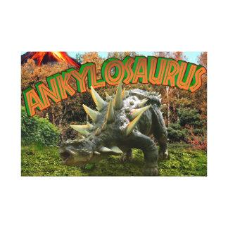 Ankylosaurus Dinosaur Park Vegetation and  Volcano Canvas Prints