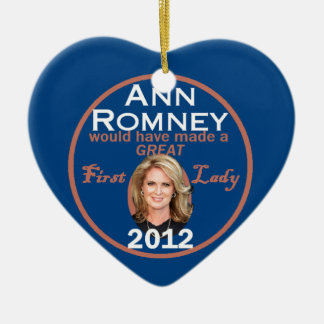 Ann Romney First Lady Ceramic Heart Decoration