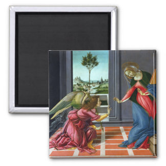 Annunciation by Sandro Botticelli Square Magnet