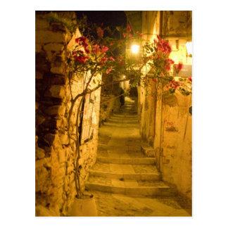 ano syros at night postcard