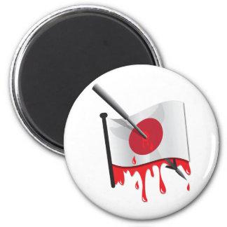 anti-whaling statement harpoon flag 6 cm round magnet