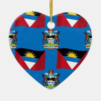 Antigua and Barbuda Crest Ceramic Heart Decoration