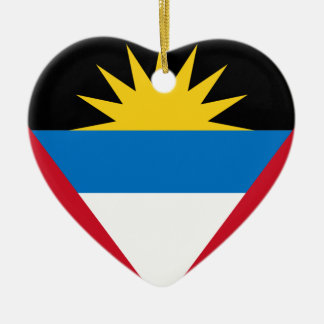 Antigua and Barbuda Flag Ceramic Heart Decoration