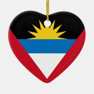 Antigua and Barbuda Flag Heart Ornament