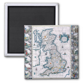 Antique 17th Century Map Square Magnet