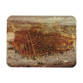 Antique Aerial Map City San Francisco, California Rectangular Photo Magnet