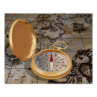 Antique Compass On A Map Poster