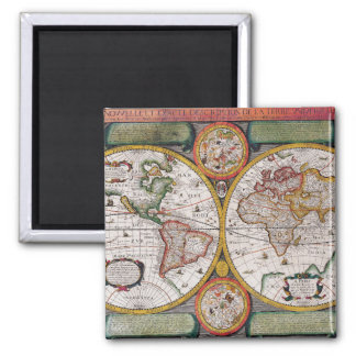 Antique French Map of The World Square Magnet