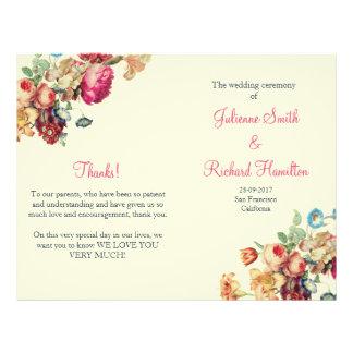 Antique Garden   Vintage Wedding Folded Program 21.5 Cm X 28 Cm Flyer