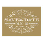 Antique Gold Save the Date | Swirl and Flourish Postcard