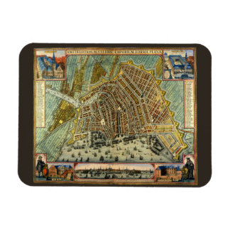 Antique Map of Amsterdam, Netherlands, Holland Rectangular Photo Magnet