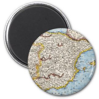 Antique Map of Spain & Portugal circa 1700's 6 Cm Round Magnet