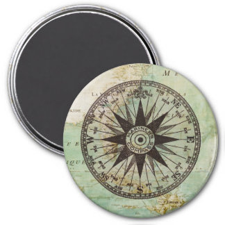 Antique Nautical Compass & Map Round Magnet
