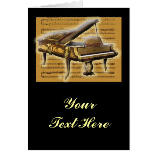 Antique Piano and Music Notation Greeting Card