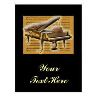Antique Piano and Music Notation Postcard