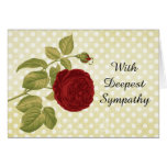 Antique Red Rose Parchment Polka Dots Sympathy Greeting Card