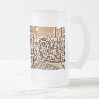Antique Tractor Farm Equipment Classic Sepia Frosted Glass Mug
