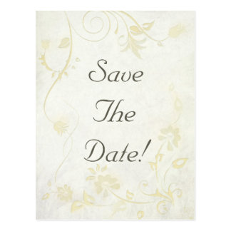 Antique White Vintage Save The Date Wedding Postcard