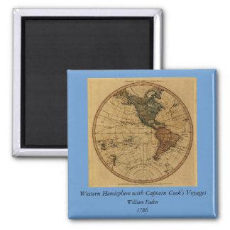 Antique William Faden 1786 Western Hemisphere Map Square Magnet