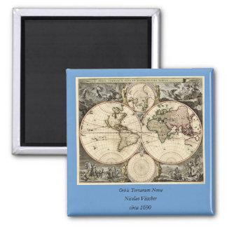 Antique World Map by Nicolao Visscher, circa 1690 Square Magnet