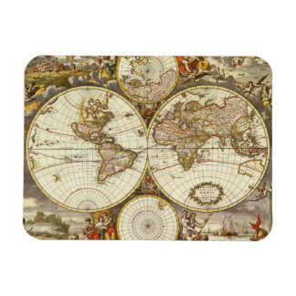 Antique World Map, c. 1680. By Frederick de Wit Rectangular Photo Magnet