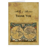 Antique World Map, Distressed BG Thank You Note Card