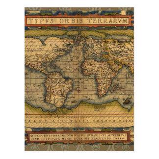 Antique World Map Ortelius Vintage Postcard