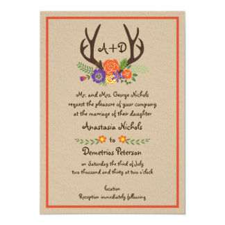 Antlers and flowers monogram kraft paper wedding 13 cm x 18 cm invitation card