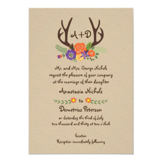 Antlers & orange flowers monogram woodland wedding 13 cm x 18 cm invitation card