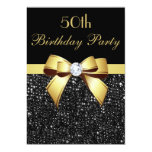 Any Age Birthday Faux Sequins Bow Black Gold 13 Cm X 18 Cm Invitation Card