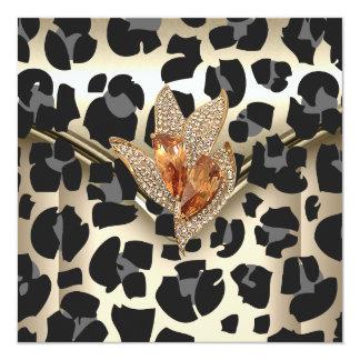 Any Event Elegant Animal Caramel Cream Black Gold 13 Cm X 13 Cm Square Invitation Card