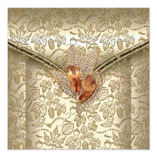 Any Event Elegant Damask Caramel Cream Beige Gold 13 Cm X 13 Cm Square Invitation Card
