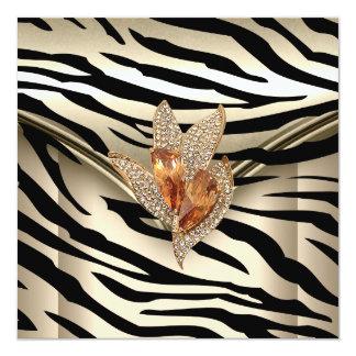 Any Event Elegant Zebra Caramel Cream Black Gold 13 Cm X 13 Cm Square Invitation Card