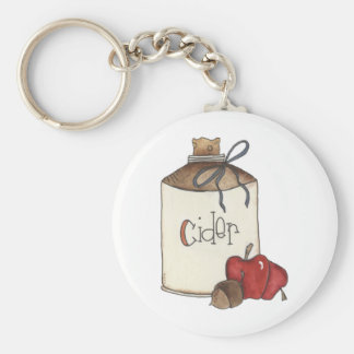 apple cider and apple picking basic round button key ring