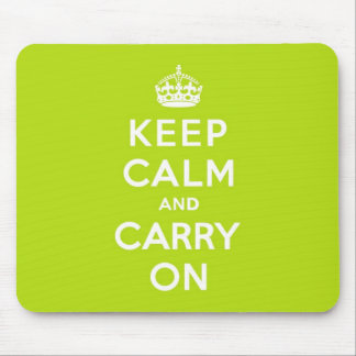 Apple Green Keep Calm and Carry On Mouse Pad