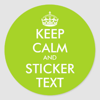 Apple green Keep Calm Stickers | personalizable
