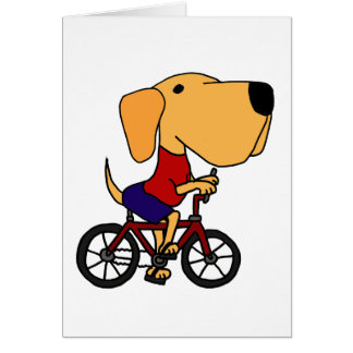 AQ- Yellow Labrador Dog Riding Bicycle Cartoon Greeting Card