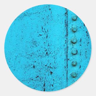 Aqua Grungy Metal Texture Round Sticker