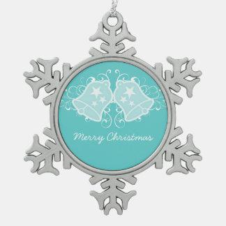 Aqua Holiday Bells and Swirls Ornament