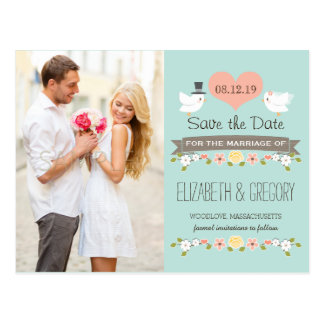 AQUA LOVE BIRDS DOVE SAVE THE DATE POSTCARD