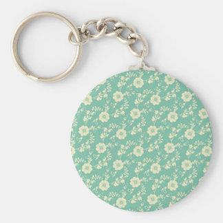 Aqua Pastel Blue Vintage Floral Print Pattern Basic Round Button Key Ring
