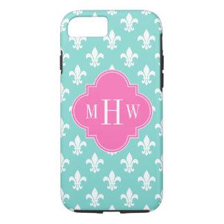 Aqua Wht Fleur de Lis Lt Hot Pink 3 Init Monogram iPhone 7 Case