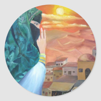 Arabian Woman Round Sticker