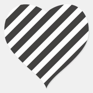 Arc Stripes Diagonal Black & White Pattern Heart Sticker