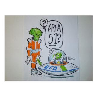 Area 51 spaceman postcard