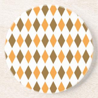 [ARG-BRO-1] Brown and orange retro argyle Drink Coasters