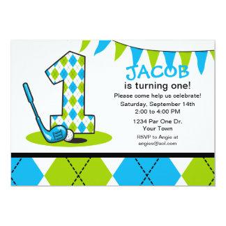 Argyle Golf 1st Birthday 13 Cm X 18 Cm Invitation Card