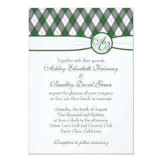 Argyle Golfball Golfing Green Monogram Wedding 13 Cm X 18 Cm Invitation Card
