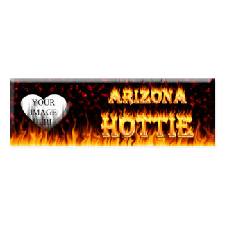 arizona hottie fire and flames red marble pack of skinny business cards